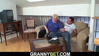 He helps busty blonde granny