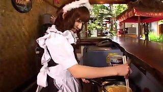 Szegyellős barna hajú jap gyönyörűség Aimi hoshii felfújtak palacsinta