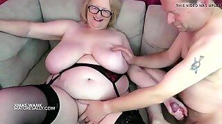 Huge tits Granny hand jobs her man over her big tits
