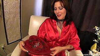 Stepmom gives a silky Valentines Day Handjob
