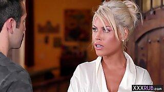 Sexy blonde big boobs MILF massage a new clients thing - Bridgette B